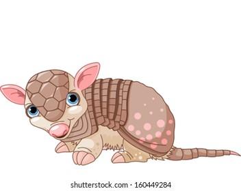 Illustration of cute cartoon armadillo