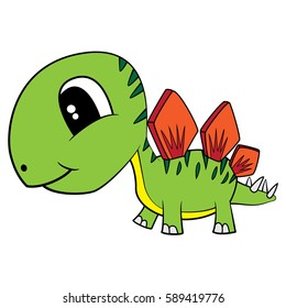 Illustration of Cute Cartoon Baby Stegosaurus Dinosaur. Vector EPS 8.