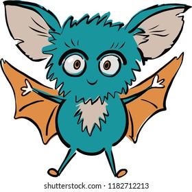 Illustration of cute cartoon bat