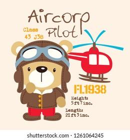 illustration of cute cartoon bear pilot