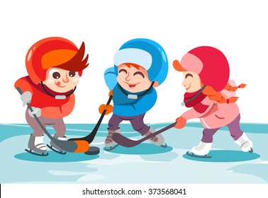 Illustration of cute cartoon boys and girl playing hockey on ice rink in park. Vector illustration isolated on white background