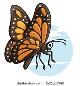 Illustration of cute cartoon butterfly.