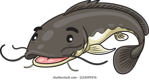 Illustration of cute cartoon catfish.