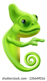 An illustration of a cute cartoon chameleon pointing round a sign or banner