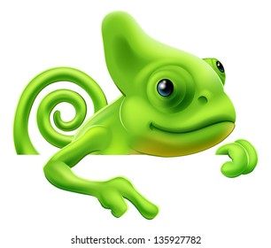 An illustration of a cute cartoon chameleon pointing from above a sign or banner