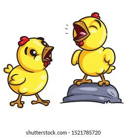 Illustration of cute cartoon chicks crow.