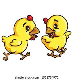 Illustration of cute cartoon chicks walk.