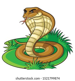 Illustration of cute cartoon cobra.