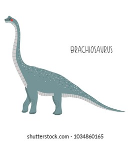 illustration of cute cartoon dinosaur  on white background. cute simple illustration of brachiosaurus.