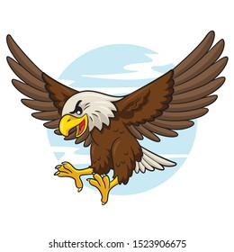 Illustration of cute cartoon eagle.