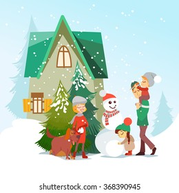 42459f73b Illustration of cute cartoon family making a snowman in front of little  cozy house.Mother