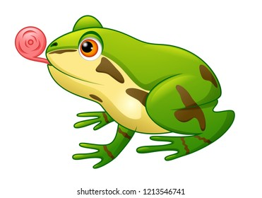 An illustration of a cute cartoon frog mascot character