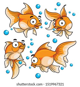 Illustration of cute cartoon goldfish.