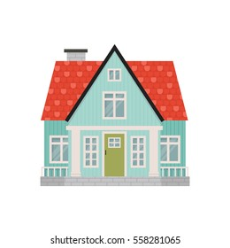 illustration of cute cartoon house facade. Simple colorful house in flat style