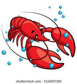 Illustration of cute cartoon lobster.