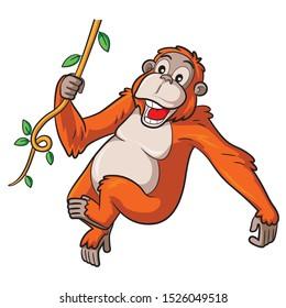 Illustration of cute cartoon orangutan.