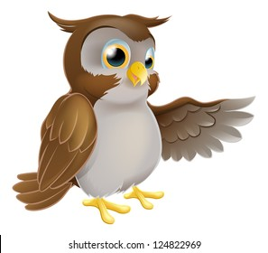 An illustration of a cute cartoon owl character pointing or showing something with his wing