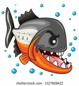 Illustration of cute cartoon piranha.