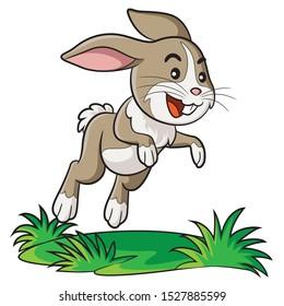 Illustration of cute cartoon rabbit.