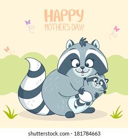 illustration cute cartoon raccoon and her child