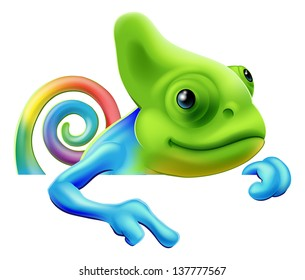 An illustration of a cute cartoon rainbow coloured chameleon pointing from above a sign or banner