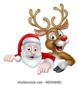 An illustration of a cute cartoon Santa and Christmas reindeer pointing at a sign