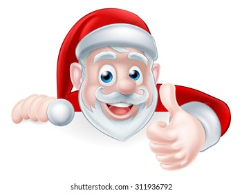 An illustration of a cute Cartoon Santa peeking over a sign giving a thumbs up in approval