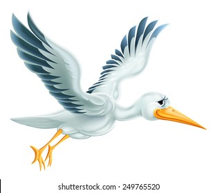 An illustration of a cute cartoon Stork bird character flying through the air