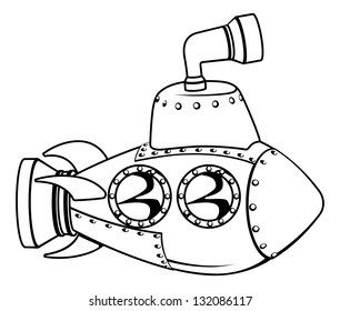 Illustration of a cute cartoon submarine in black and white outline