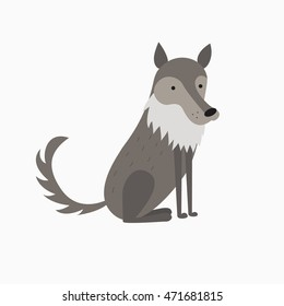 Illustration of cute cartoon wolf
