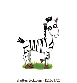Illustration of cute cartoon zebra on green grass