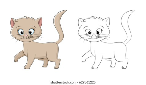 Illustration of a cute cat, painted and contour