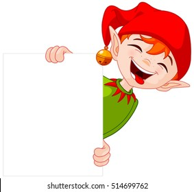 Illustration of a cute Christmas elf holding a sign