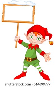 Illustration of a cute Christmas elf holding up a snowy sign