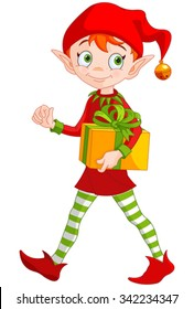 Illustration of cute Christmas elf holds gift