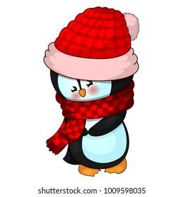 Illustration of Cute Christmas penguin