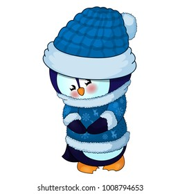 Illustration of Cute Christmas penguin in a blue hat and sweater