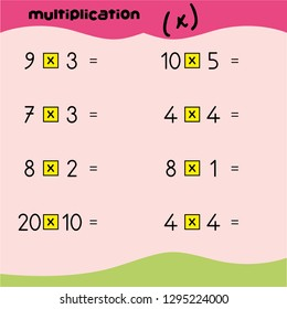 Illustration of a cute and colorful mathematical times table with answers. Math multiplication. Worksheet. game for kids. Mathematics game. - Vektör - Vektör