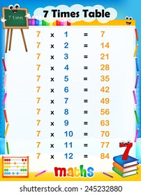 Illustration of a cute and colorful mathematical times table with answers. 7 times table