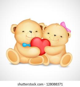 illustration of cute couple of teddy bear hugging heart