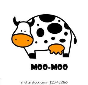 Illustration of cute cow. logo. Cartoon