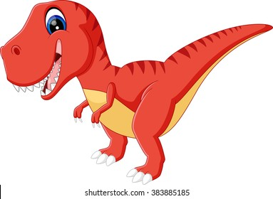 illustration of cute dinosaurs cartoon