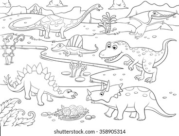 Illustration Of Cute Dinosaurs Cartoon For Coloring EPS10 File Simple Gradients