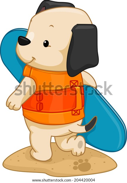 Illustration of a Cute Dog Carrying a Surfboard