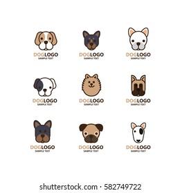 Illustration of cute dog logo set on white background. The vector of dog. It is good minimal iconic for pet logo, dog lover logo.