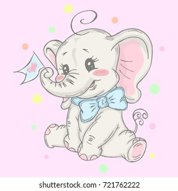 Illustration with cute elephant with little flag . Can be used for baby t-shirt print, fashion print design, kids wear, baby shower celebration greeting and invitation card.