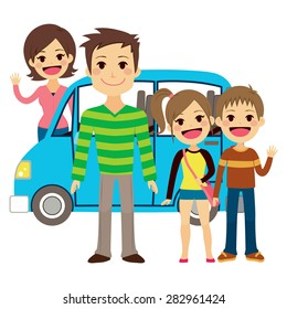 Illustration of cute family going together on vacation trip