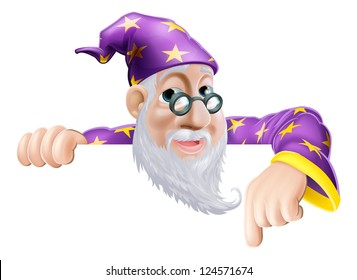 An illustration of a cute friendly old wizard character above a sign or banner pointing down at it