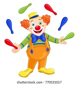 Illustration of Cute funny juggling clown