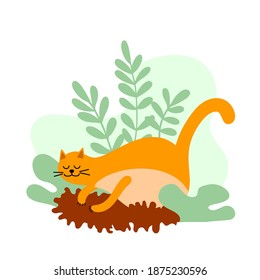 Illustration with cute ginger cat and plants.